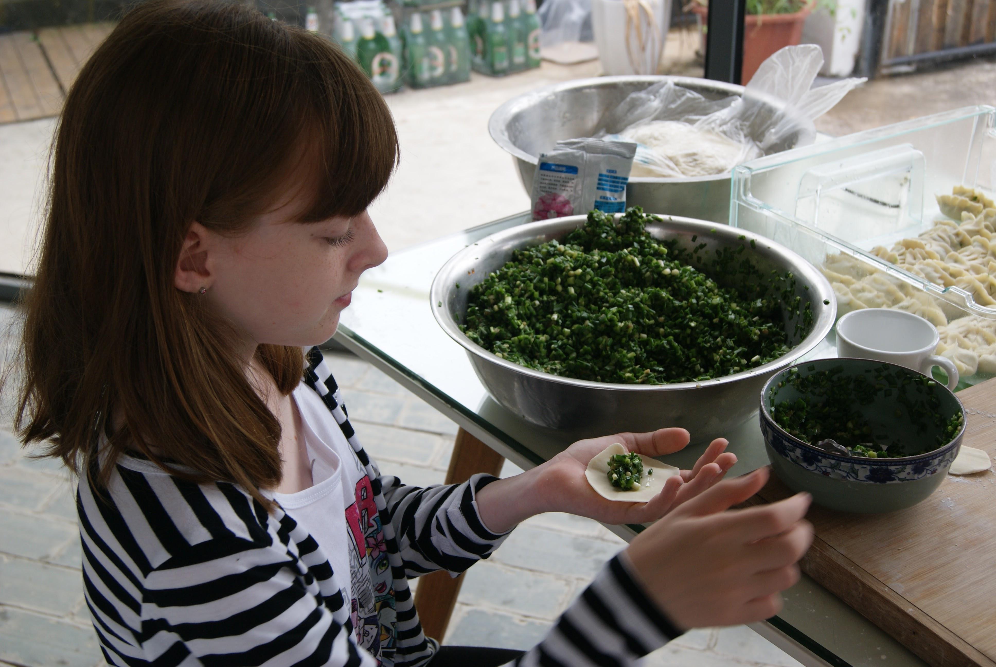 Making Chinese dumplings, Yangshuo
