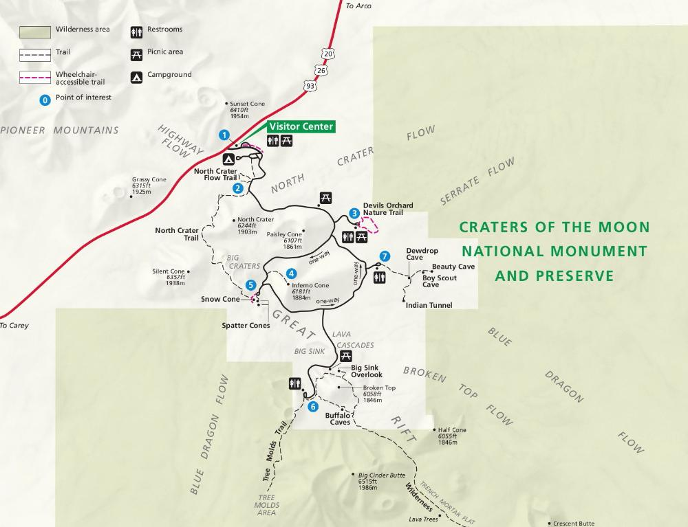 Craters of the moon national monument - Map
